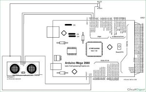 Door Alarm using Arduino and Ultrasonic Sensor schematic