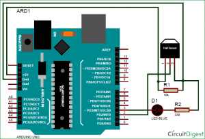 Interfacing Hall Effect Sensor with Arduino schematic