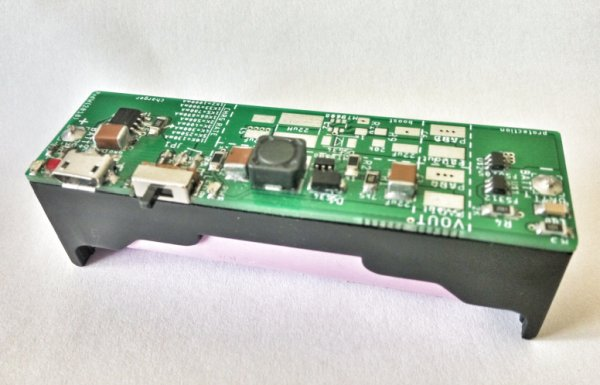 Lipo Charge Boost Protect board in 18650 cell holder format