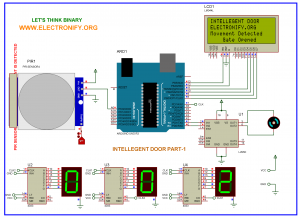 AUTOMATIC DOOR OPEN SYSTEM WITH VISITOR COUNTER PART-2 Using ARDUINO UNO R3 schematic diagram