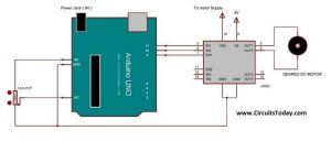 Arduino Gear Motor Interface Using IC L293D schematics