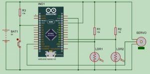 Arduino Solar Tracker Using LDR Sensor & Servo Motor schematics