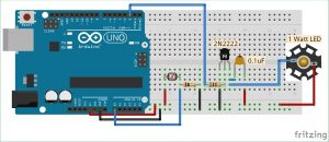 Auto Intensity Control of Power LED using Arduino schematics