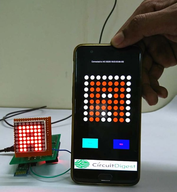 Bluetooth Controlled 8x8 LED Matrix Sign Board Display using