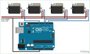 Controlling Multiple Servo Motors with Arduino schematics