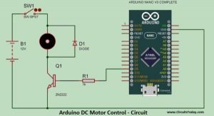DC Motor Speed Control Using Arduino & PWM schematics