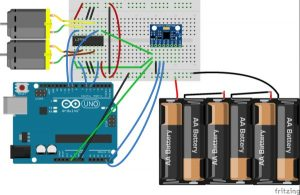 DC Motor Speed Control using GY 521 Gyro Accelerometer and Arduino schematics