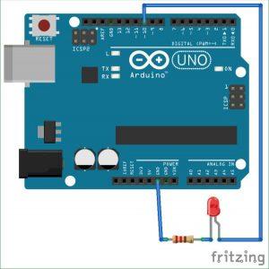 Interfacing Arduino with MATLAB - Blinking LED schematics