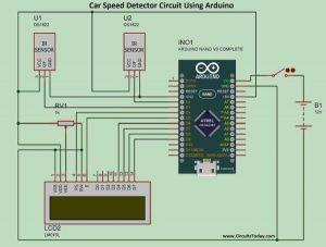 Project Car Speed Detector Using Arduino schematics