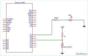 Reed Switch Interfacing with Arduino schematics