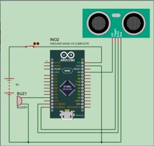 Ultrasonic Blind Walking Stick Using Arduino schematics