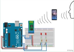 Voice Controlled LEDs using Arduino and Bluetooth schematics