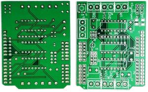 DIY-Arduino-Motor-Driver-Shield-PCB-front-and-back-view