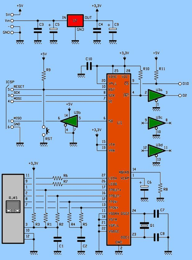 SCHEMATIC ENC28J60 ETHERNET MODULE FOR ARDUINO KIT