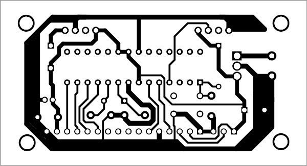 Actual-size PCB pattern of the receiver unit