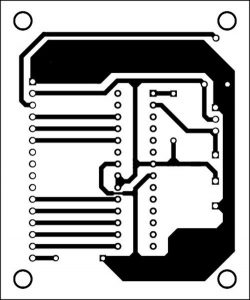 An actual-size, single-side PCB for the serial LCD module