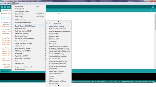 Board Selection in Arduino IDE