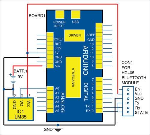 Circuit diagram of temperature monitoring system