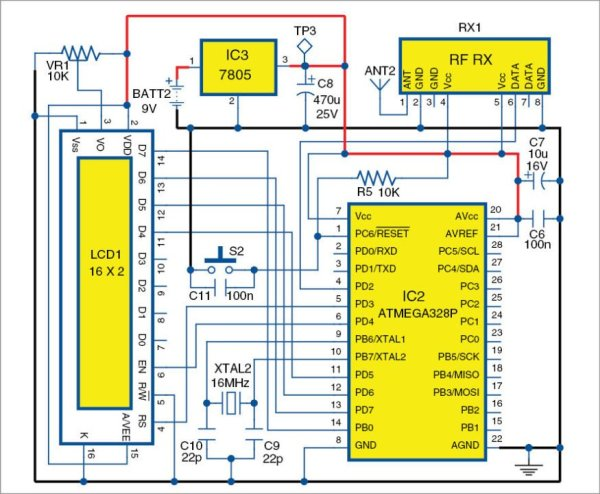 Circuit diagram of the receiver unit