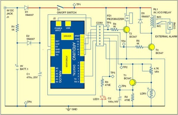 Circuit of Arduino-based shadow alarm