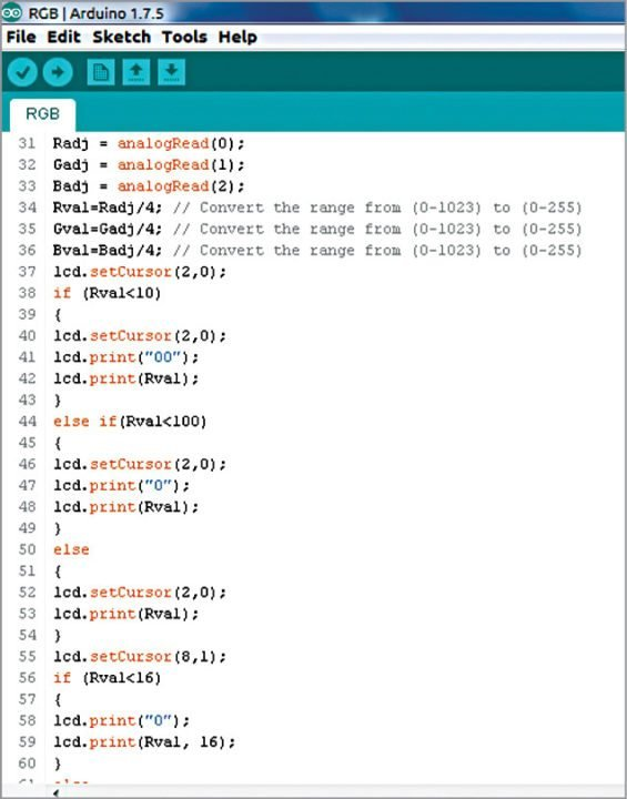 Screenshot of the source code