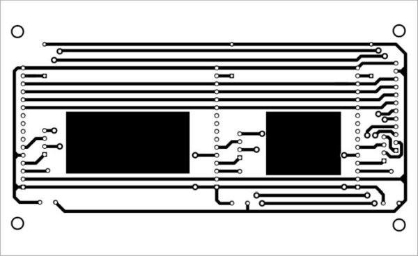 Actual-size PCB layout for interfacing of multiple LCDs