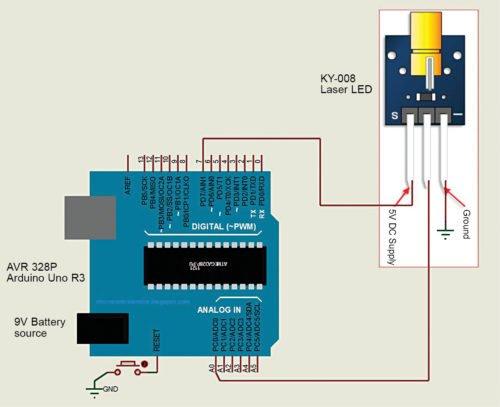 Circuit diagram for interfacing laser LED module