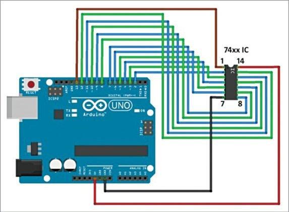 Circuit diagram of the digital IC tester
