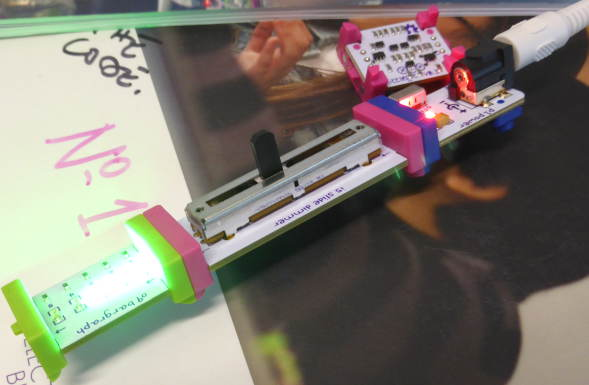 Guildford-Makerspace-littleBits-in-action using Pic-microcontroller
