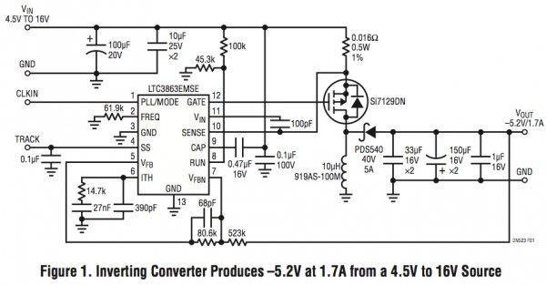 AppNote: Inverting DC/DC controller converts a positive input to a negative output with a single inductor