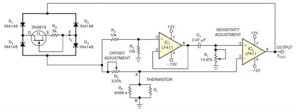 Temperature-to-period circuit provides linearization of thermistor response