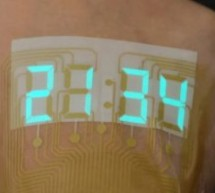 Stretchable electroluminescent stopwatch display sits like a tattoo on your skin